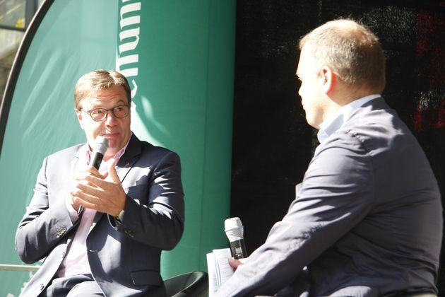 TT-Chefredakteur Alois Vahrner (r.) befragte LH Günther Platter zur Bundes- und Landespolitik.