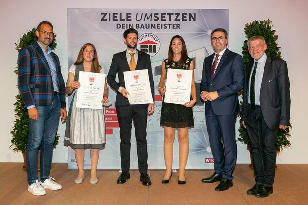 Baumeisterin Sarah Kapfinger, BSc, Baumeister DI Philipp Huter und Baumeisterin DI Nicol Karen Jenewein (v.l.).