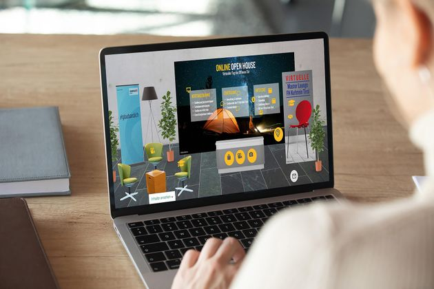 Der virtuelle Besuch des Online Open House der FH Kufstein Tirol wirkt sehr realistisch und einladend.